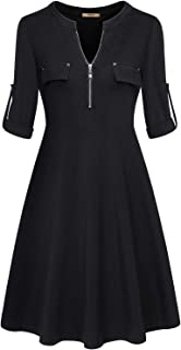 Miusey Womens 3/4 Roll Sleeve Zipper Causal Blouse Shirts Midi Dress with Pocket