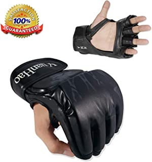 MMA Gloves, UFC Gloves Boxing Leather More Paddding for Men Women Knuckle Wrist Protection, Half Finger Mitts Sparring Gloves for Training, Kickboxing, Muay Thai, Punching, Fight, Mixed Martial Arts