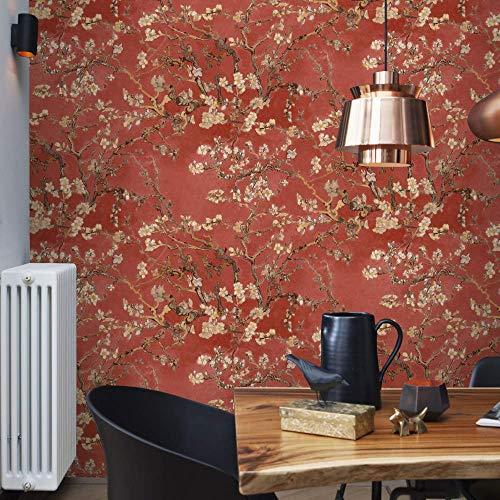 Papel pintado con flores rojas de Van Gogh, salmón, flor de almendra, flores vintage, para dormitorio, cocina, salón, incluye cola de papel pintado para papel pintado