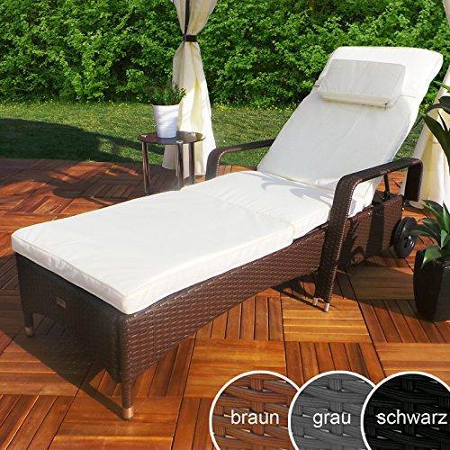 Swing&Harmonie Rattan Garten Liege Relax Polyrattan Gartenliege Rattanmöbel Liegestuhl Sonnenliege (Braun)