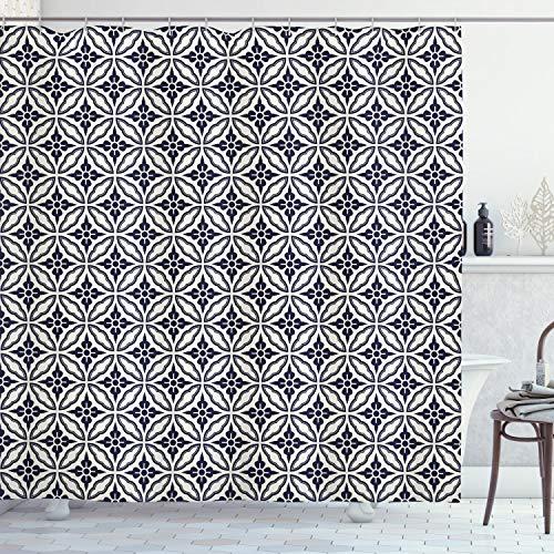 ABAKUHAUS Geometrisch Duschvorhang, Japanische Mandala, Set inkl.12 Haken aus Stoff Wasserdicht Bakterie & Schimmel Abweichent, 175 x 200 cm, Dunkelblaue Creme