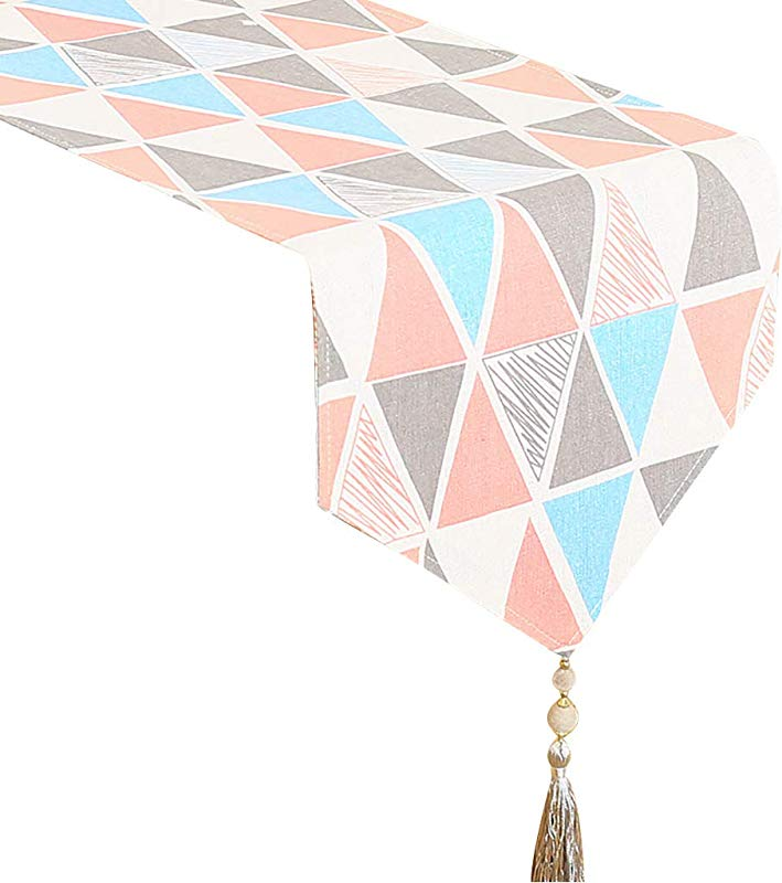 WYQ Geometric Table Runners Cotton Burlap Table Runner For Family Dinners Gatherings Parties Everyday Use Color Pink Size 30 220cm