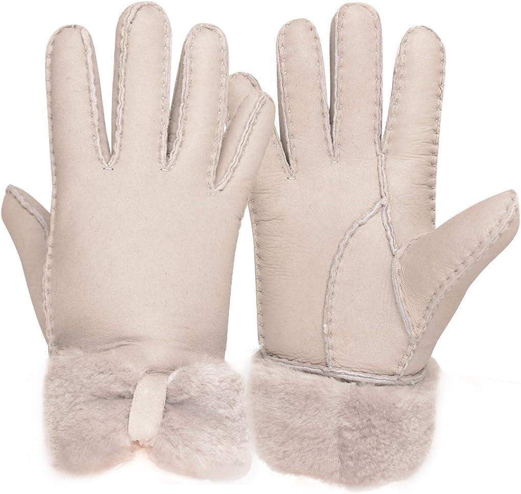 Furoom women's sheepskin glove beige bowknot