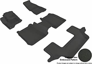 3D MAXpider Complete Set Custom Fit All-Weather Floor Mat for Select Ford Flex Models - Kagu Rubber (Black)