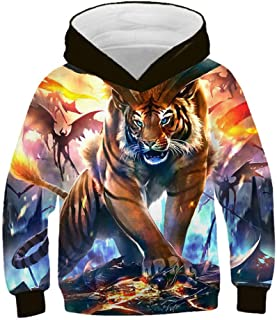 3D Printed Hoodies, Tiger And Lion Personality Fashion Trend Hooded Sweatshirt for Boys, Animal Sportswear Cool Long Sleeve Pullover