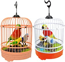 TOYMYTOY Singing and Chirping Bird in Cage Realistic Sounds Movements Bird Figurines Talking Parrot Toy Without Battery Ra...