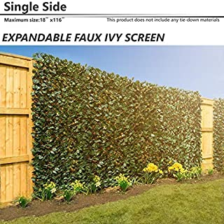 BOUYA 15 x 116 Expandable Faux Artificial Ivy Trellis Fence Privacy Wal Screen (Single Sided Leaves) Outdoor/Indoor Backdrop Garden Backyard Home Decorations, Singe Eaves, Green