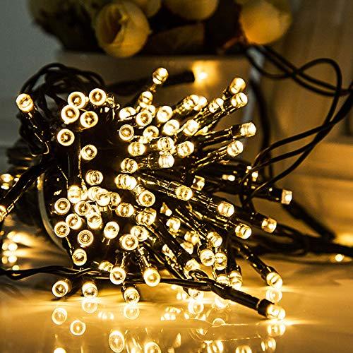 TOFU Außen & Innen 10M 100LEDs Lichterkette Weihnachtsbeleuchtung, IP44 Wasserdicht, Lichterkettenvorhang LED Dekorative für Weihnacht, Party, Schlafzimmer, 8 Modi(1. Warmweiß, 2 Packungen)