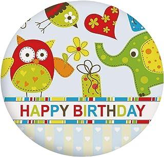 Housse de table en polyester avec bords élastiques - Motif patchwork - Chouettes, oiseaux, cœurs et boîtes - Pour table ro...