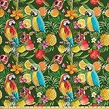 ABAKUHAUS Tropisch Gewebe als Meterware, Papageien und