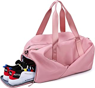 HICCUPfish Gym Bag Dry Wet Separated Duffel Bag with Shoes Compartment Training Bag for Man and Women (Pink)