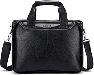 Middle-Aged and Older Business Men's Handbag Cross Section Shoulder Bag Large Capacity Dad Briefcase Computer Bag (Color : Black)