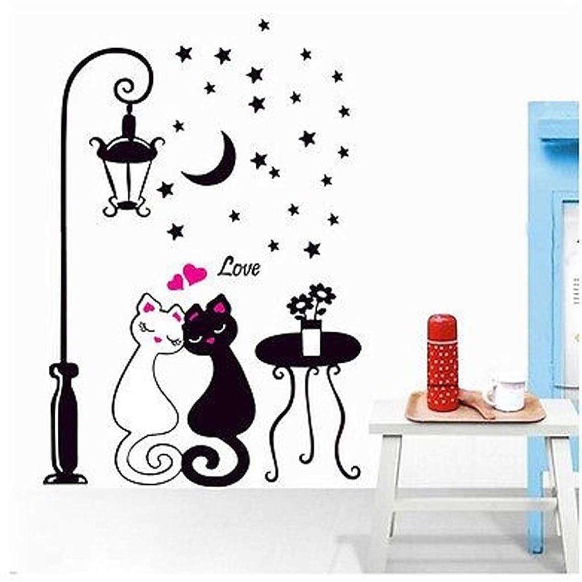 オーバーラン腸フェデレーションラオハオ 愛猫カップル街灯月夜壁ステッカーデカールビニールアーティスト住宅装飾 壁画ステッカー