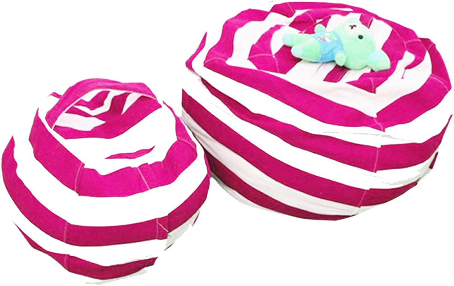 ZZURCCA Bean Bag Storage Chair Oversized Stuffed Animal Bean Bag Sofa for Kids Ultra Soft and Lightweight Comfy Seats with Handle,pinkred-White Stripe,2PC