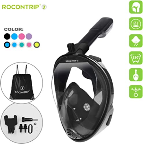 ROCONTRIP Snorkel Mask Full Face, Panoramic 180°View Design, Anti-Fogging Anti-Leak with Adjustable Head Straps with ...