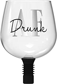 Guzzle Buddy BGA-154175 ' Drunk AF Wine Bottle Glass, One Size, Clear