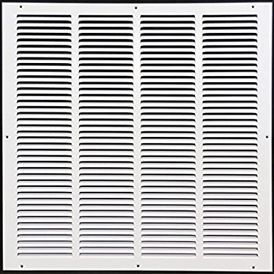 "20""w X 20""h Steel Return Air Grilles - Sidewall and Ceiling - HVAC Duct Cover - White [Outer Dimensions: 21.75""w X 21.75""h]"