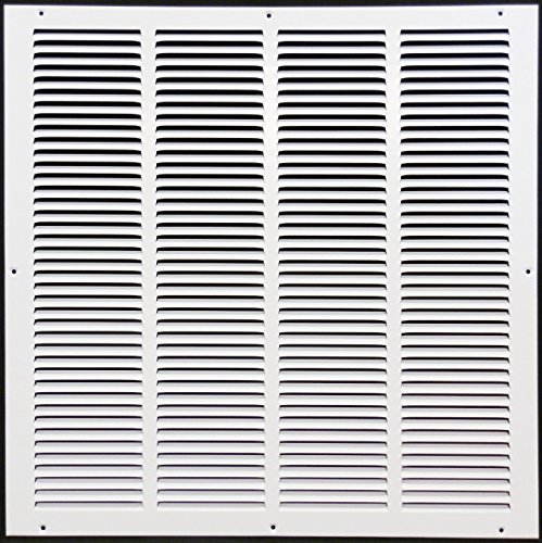 20'w X 20'h Steel Return Air Grilles - Sidewall and Ceiling - HVAC Duct Cover - White [Outer Dimensions: 21.75'w X 21.75'h]