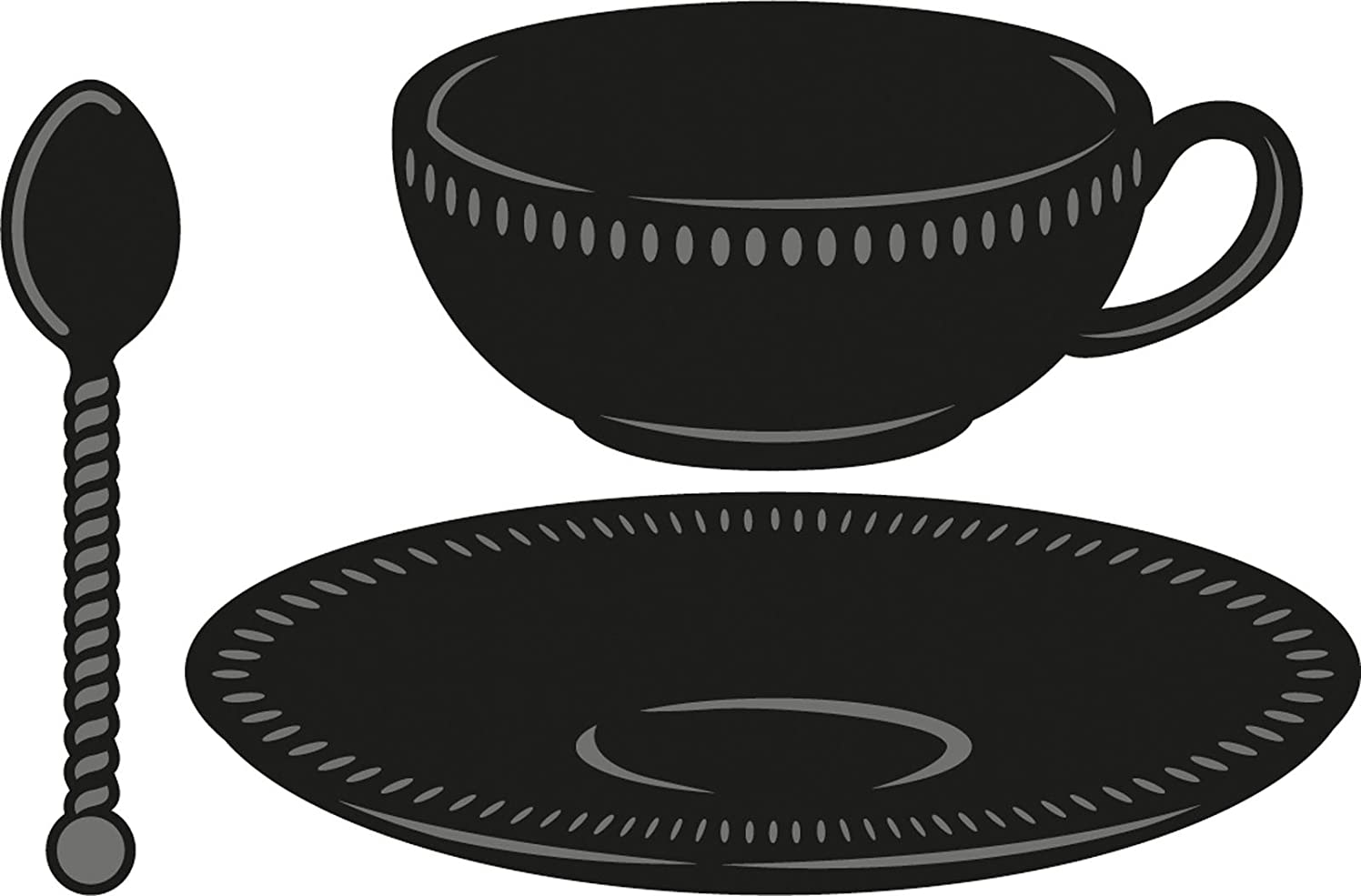 Ecstasy Crafts Marianne Design Craftables Dies, 2.5 by 1.5-Inch, Tea Cup, Saucer, Spoon