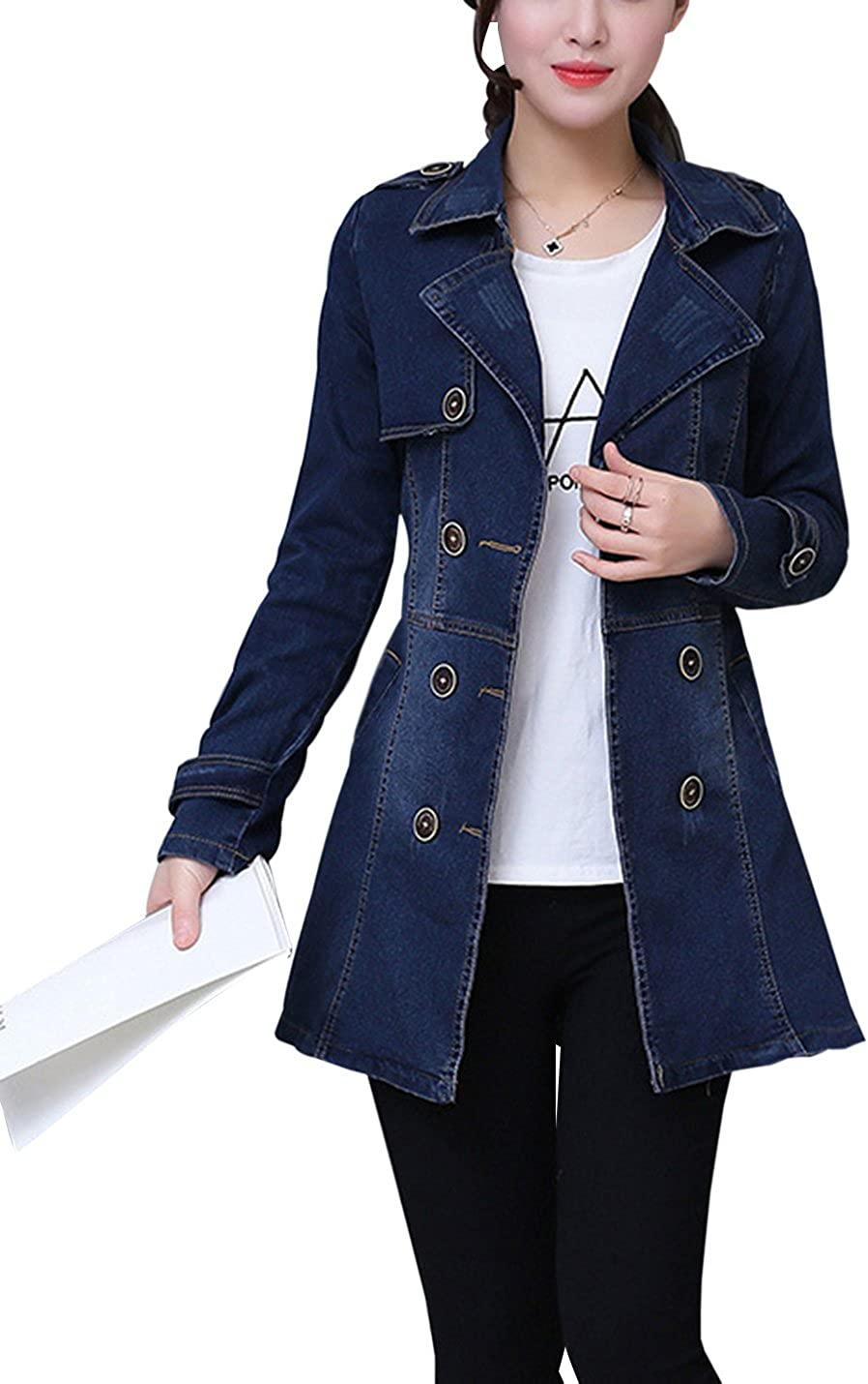 Gihuo Women's Casual Slim Fit Mid-Long Denim Jacket Double Breasted Belted Trench Coat (Blue, X-Small)