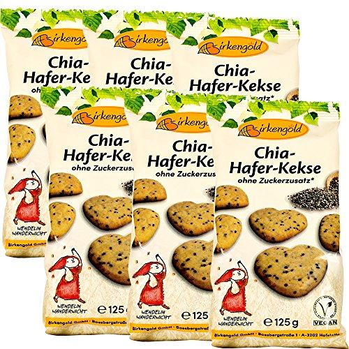 Birkengold Chia-Hafer-Kekse, 6er Pack   ohne Zuckerzusatz   100 % mit europäischem Xylit gesüßt   vegan   gesundes Naschen   mit Bio Chia Samen