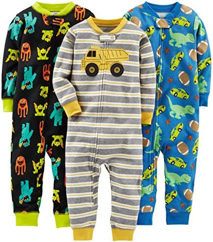 Simple Joys by Carters Baby Boys 3-Pack Snug Fit Footed Cotton Pajamas Pack of 3