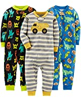 Simple Joys by Carter's Baby Boys' 3-Pack Snug Fit Footless Cotton Pajamas, Monsters/Dino/Construction, 12 Months