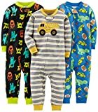 Simple Joys by Carter's Baby Boys' Toddler 3-Pack Snug Fit Footless Cotton Pajamas, Monsters/Dino/Construction, 2T