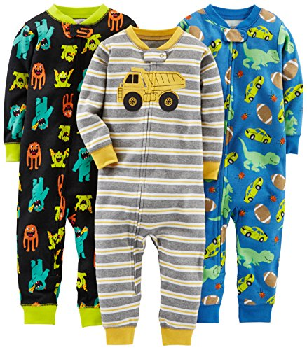 Simple Joys by Carter's Baby Boys' Toddler 3-Pack Snug Fit Footless Cotton Pajamas, Monsters/Dino/Construction, 4T