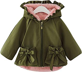 Famuka Infant Winter Baby Girls Coat Jackets Thick Fleece Lined Cute Ruffled Outwear (18-24 Months, Green)
