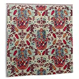 DIYAB Duschvorhang,Batik Parang Barong Diagonalmuster Indonesische Kultur & Kunstdesign,wasserdicht hochwertige Qualität Duschvorhänge inkl 12 Ringe