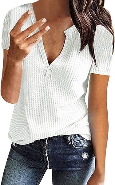 女式性感上衣 2019 时尚 YEZIJIN 女式休闲纯色短袖 v领开叉针织套衫上衣女式衬衫