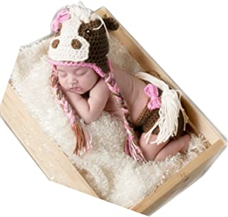 Newborn Monthly Baby Photo Props Outfits Crochet Horse Set for Girls Photography Shoot