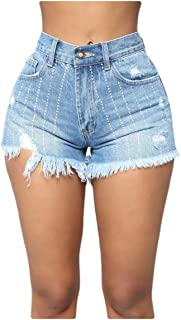 RkYAO Womens Hot Shorts Sexy Skinny Summer Mid-Rise Denim Shorts
