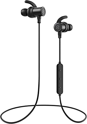 SoundPEATS Bluetooth Earphones, Wireless 4.1 Magnetic Earphones, in-Ear IPX6 Sweatproof Headphones with Mic (Superior Sound with Upgraded Drivers, APTX, 8 Hours Working Time, Secure Fit Design)-Black