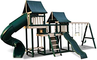 CONGO Monkey Playsystem #3 with Swing Beam - Green and Sand Low Maintenance Play Set