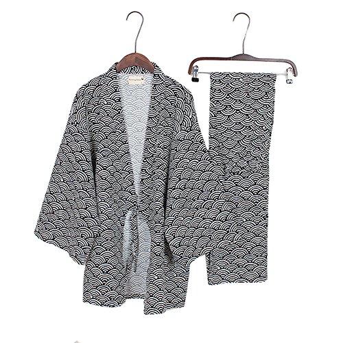 Trajes de estilo japonés de los hombres Traje de pijama de kimono Vestido de noche Set-Black Wave Pattern