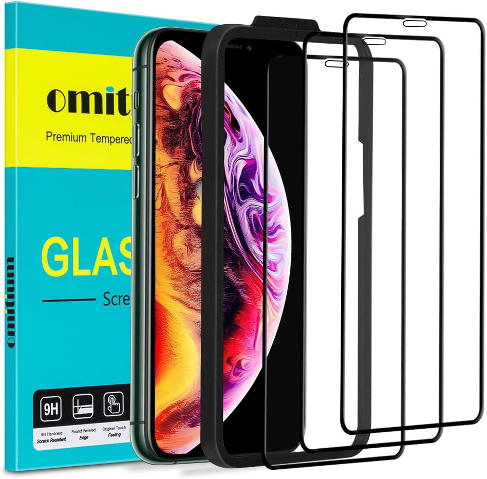 "omitium Protector Pantalla para iPhone 11 Pro MAX, [3 Pack] Cristal Templado iPhone XS MAX Marco de Alineación Incluido [Cobertura Completa] Dureza 9H Vidrio Templado iPhone 11 Pro MAX - 6,5"", Negro"