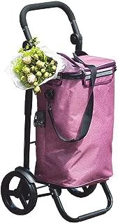 Djyyh Lightweight Shopping Trolley Wheeled Aluminum Push Cart Purple Large Capacity Travel Luggage Cart Foldable 2 Wheels (Color : Black Tube)
