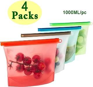 4 Paquetes de silicona reutilizables Bolsas de almacenamiento de alimentos Envases ecológicos de cierre hermético con cierre de cremallera