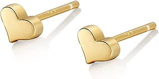 Tiny Heart Stud Earrings Sterling Silver 14K Gold Plated Stud Earrings Dainty Earrings for Women
