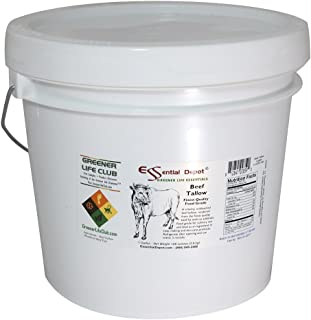 Beef Tallow - Food Grade - 8 lbs in a 1 Gallon HDPE Pail - HDPE microwavable container with resealable lid and removable handle