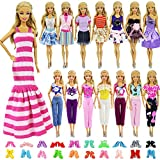 ZITA ELEMENT 5 Sets Casual Wear Clothes Mix Party Dress with 5 Pairs Shoes for 11.5 Inch Girl Doll Clothes Outfits - Fashion Handmade 11.5 Inch Girl Doll Clothing and Shoes Accessories Gift