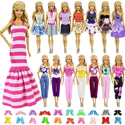 ZITA ELEMENT 10 Stück Mode Handgefertigte Puppenkleidung für 11,5 inch Girl Doll Puppe Kleider Oberteil Hosen Outfits Schuhe Zubehör