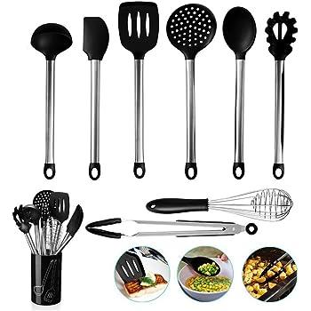BMK Kew Silicona Utensilios de Cocina Utensilios de Cocina 10 + 1 Silicona & Acero Inoxidable Kit de Utensilios de Cocina Juego de sartenes Juego de Cocina Utensilios de Cocina: Amazon.es: Hogar