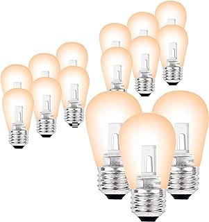 SUNTHIN 15 Pack LED S14 Replacement Bulbs E26 Medium Base Warm White 2700K 0.9W LED Lights Bulb 6 Watt Incandescent Bulbs Equivalent