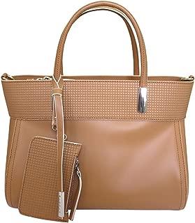'Chic' Designer Italian Leather Tote Bag Grab Handbag Wedding Bag Tan