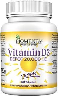 Biomenta Vitamina D3 VEGAN - DEPÓSITO 20.000 I.E 1 Tab 20 Días - 120 vitamina D