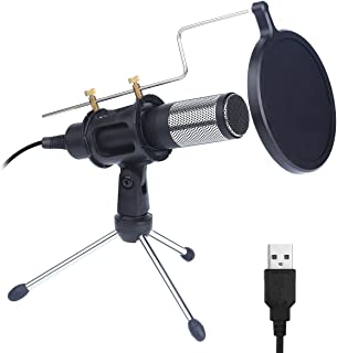 Condenser Microphone with USB, Onvian PC Phone Microphone with Stand for Record, Live Broadcast, Podcast, YouTube, Studio, MSN or Skype Online Chat, for PC Android iOS Tablet Smartphone