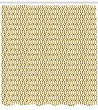 tttttt Resumen Cortina de Ducha Ilustración del Vector árabe inconsútil Patrón Inspirado en Oriental Tela Bagnodecor con s Largos Marigold Blanco 183 * 183CM